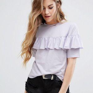 ASOS lavender ruffle T-shirt